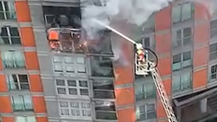 Platform ladder used to reach blazeat New Providence Wharf on May 7
