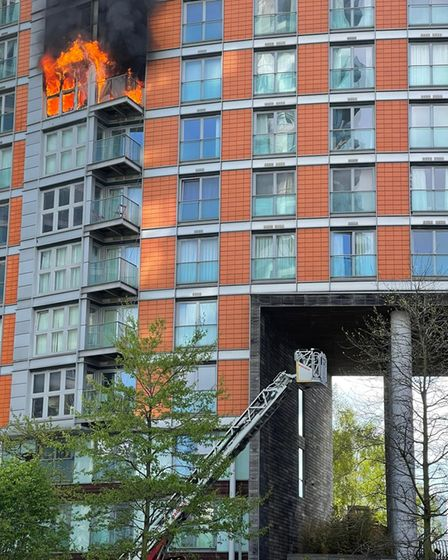 Platform rescue ladder ready to be raised at New Providence Wharf fire on May 7