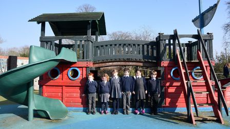 The school's youngsters outside the old pirate-themed play area