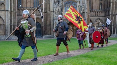 Hereward the Wake and his Band of Men march from Peterborough Cathedral