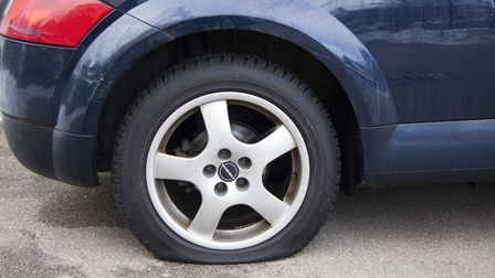 The tyres on 20 cars parked across three streets in Thetford were punctured in the same night.