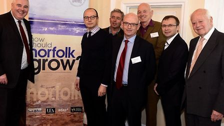 Richard Bacon with speakers at the How Norfolk Should Grow conference