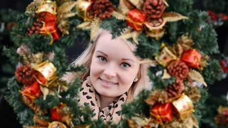 Sandringham Christmas Craft Fair. Kelly Lipscomb with a christmas wreath. Picture; Matthew Usher.