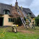 Fire crews dealt with a thatched roof fire at a two storey homein Thelnetham