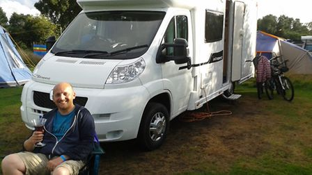 Shaun Lowthorpe taking it easy at Kelling Heath in front of the Elddis 165 Motor Home
