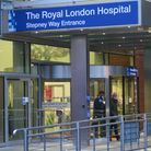 Entrance to Royal London Hospital... well away from the isolated Covid unit on 15th floor