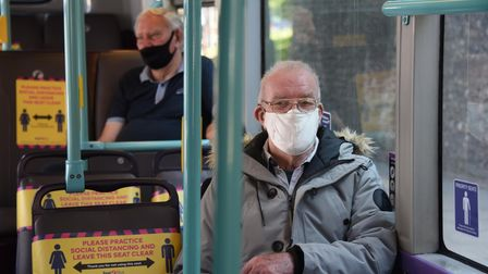 Passengers wearing face masks travelling on buses in Norwich.
