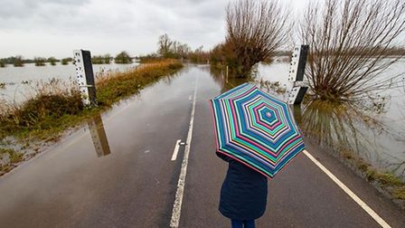 A walker looks on at the flooding on A1101 Welney Wash road.