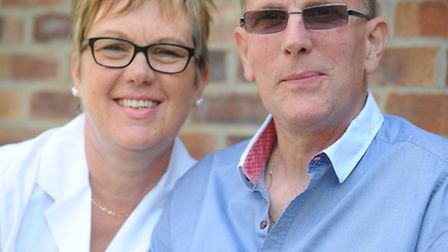 Steve Sillett, contaminated blood victim, at home with wife Di.