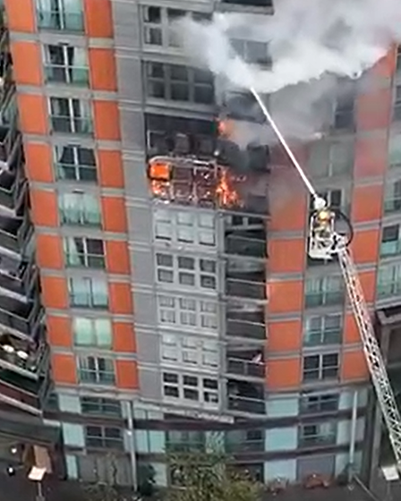 Aerial ladder reaching blaze on 9th floor of New Providence Wharf... but can't reach much higher, say councillors