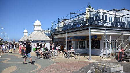 People out enjoying the first day of the hot weather as the summer arrives at Lowestoft's Claremont