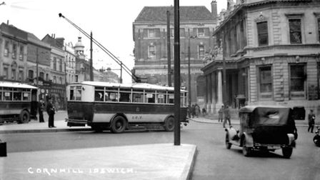 Trolleybuses on the Cornhill in Ipswich