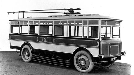 Trolleybus No 26 in its heyday - after being retired from service it was used as a summerhouse