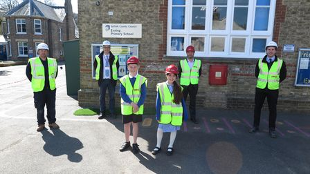The visit to see the progress on the new SEND unit at Exning Primary School
