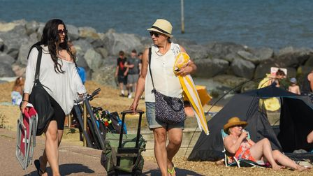 People enjoying the sunshine at Felixstowe sea front. Picture: Danielle Booden