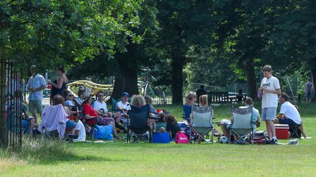 People out enjoying the sunshine in Christchurch Park in Ipswich. Picture: Danielle Booden
