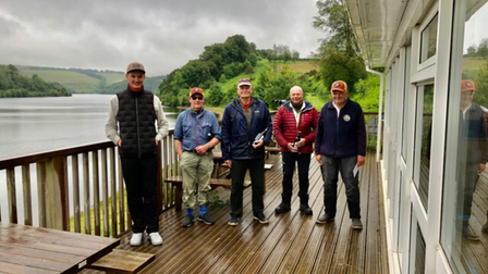 The winning members of Kennick Flyfishers in the Snowbeee Top Rod Competition