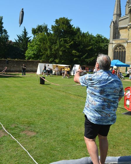 Eel throwing was one of the main attractions at the fayre.