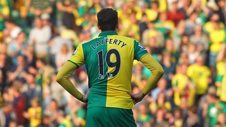 Norwich City striker Kyle Lafferty remains a target for Championship club Leeds United. Picture by P