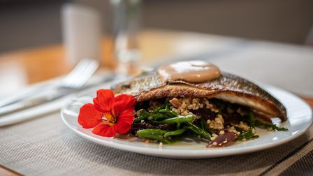 Sea bass fillet with samphire, red onions, bulgar wheat and rouille at The Fish Dish in Sudbury