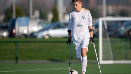 Nathan Fisher in action for Peterborough United Amputees