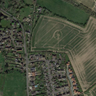 A bird's eye view or satellite image of Stebbing, surrounded by green fields.