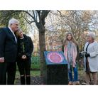Billy Faust's family at the 2017 memorial unveiling in Bethnal Green