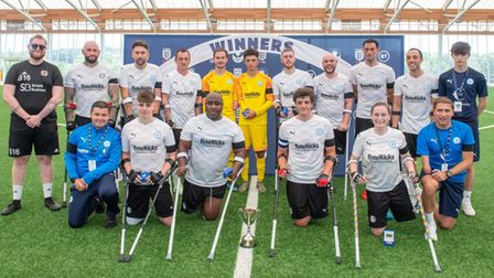 Peterborough United Amputees after winning the FA Disability Cup vs Portsmouth