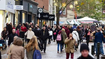 Shoppers out in Norwich city centre on Black Friday. Photo : Steve Adams