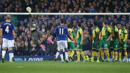 Declan Rudd saves Joel Robles' free-kick during Norwich City's Capital One Cup tie at Everton earlie