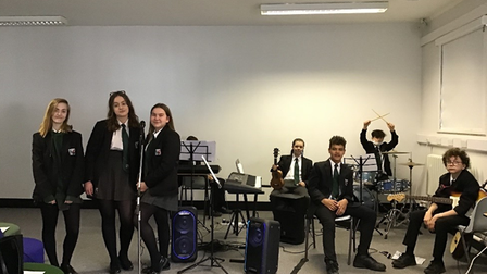 Students recording their pop song 'Au Revoir Confinement' for the Institut Francais competition.