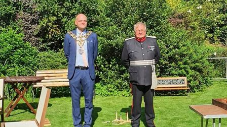 Wisbech Mayor Cllr Aigars Balsevics hosted a socially distanced civic tea party at Wisbech Castle. P