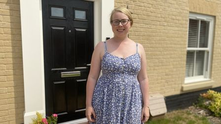Kimberly Brockett, 31, and mother-of-three, who has moved into her new home on the Kingsfleet development in Thetford.