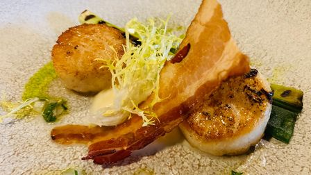 Scallops with pancetta and gremolata at The Swan at Lavenham
