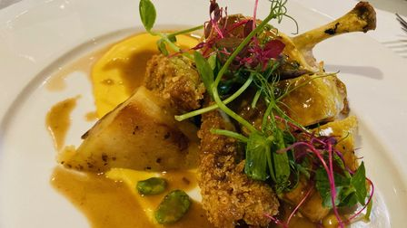 Corn fed chicken supreme with sweetcorn puree, and pea and smoked ham croquette at The Swan at Lavenham