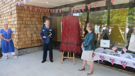 Col David Dickey speaking at the opening of the new Bungay community Centre, with centre chairman Judy Cloke on the right.