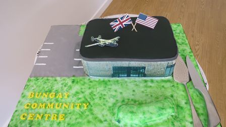 The celebration cake in the form of the new Bungay Community Centre.