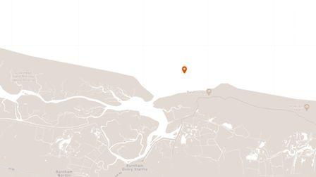 A map showing the rough location of starboard buoy one in Burnham Overy Staithe Channel.