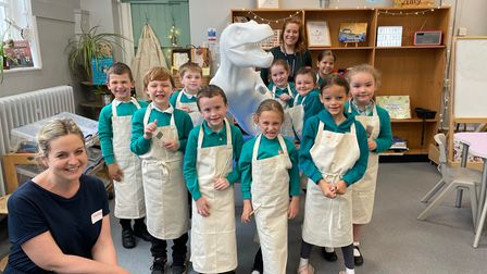 Emma Conway and children from Heartwood Primary Schoolin Swaffham.