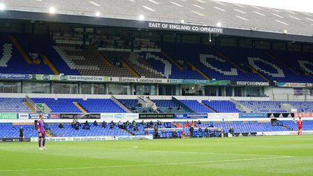 With fans still not permitted to attend matches, this was the sparsely populated Co-op stand during