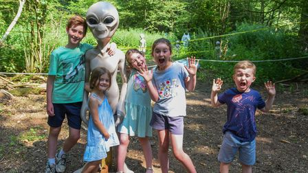 The Ackerman family enjoying the Adventure Trail in Lady Ferrer's Wood, East Raynham. Picture: Danie