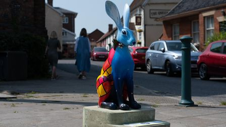 A blue hare sculpture in Eye town centre