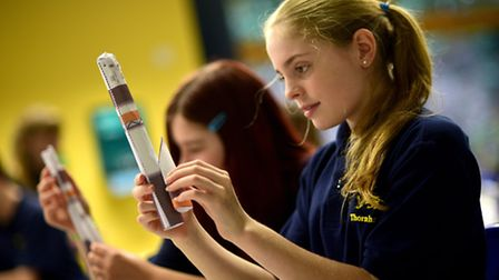 CNS students watch Tim Peake's live rocket launch. Students making model rockets.Picture: ANTONY KEL