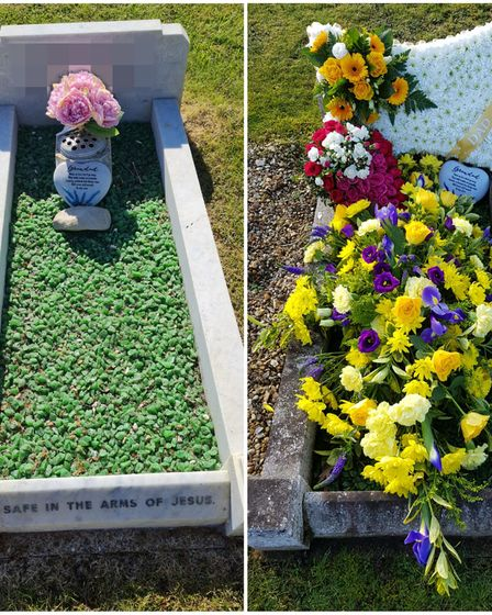Emma Andrews posted on Facebook to thank Allan Fisher for cleaning her aunt Carol's gravestone.