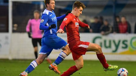 Michael Spillane impressed in defence for Lowestoft Town (blue) against Alfreton. Picture: Nick Butc