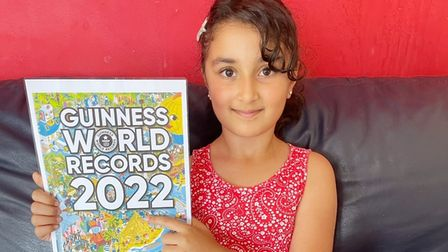 Rahma (pictured) will be drawn onto the front of the Guinness World Records 2022 book cover