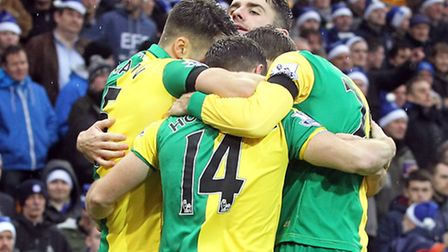 Wes Hoolahan is mobbed after Norwich City's equaliser in a 1-1 Premier League draw against Everton.