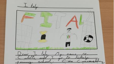 Handwritten letter with a drawing by a child in Takeley Primary School to the Italian footballers in Euro 2020