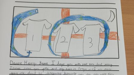 A supportive letter written to Harry Kanefollowing Euro 2020 from a student at Takeley Primary School