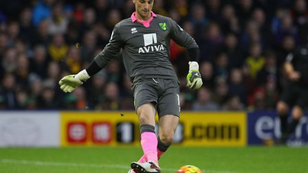 Declan Rudd of Norwich in action during the Barclays Premier League match at Vicarage Road, Watford.